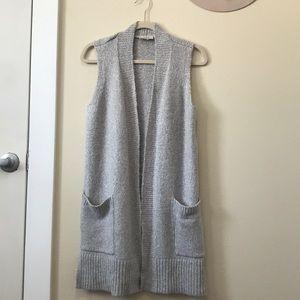 LOFT Outlet Gray sweater cardigan sleeveless vest